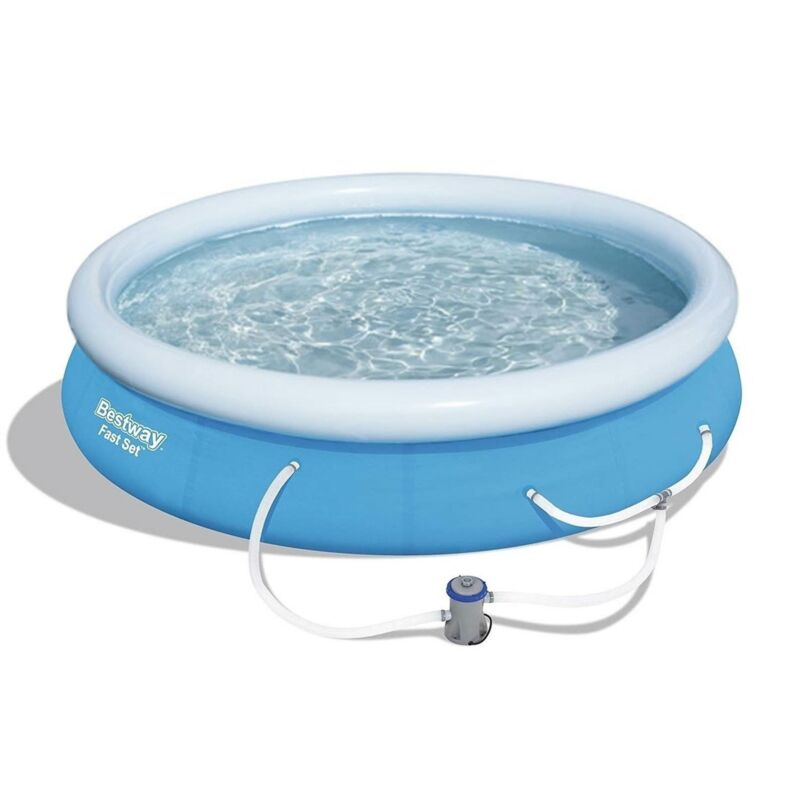 Bestway Fast Set Up 12ft x 30in Inflatable Above Ground Swimming Pool w/  Pump