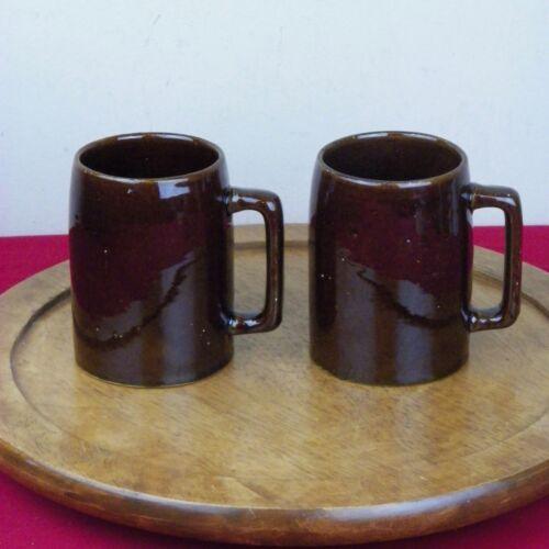 Vintage Pabst Beer Milwaukee Brown Mirror Pottery Mugs Pair