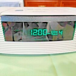 White Bose Wave Radio CD Player Alarm Clock Model AWRC-1P WORKING!!