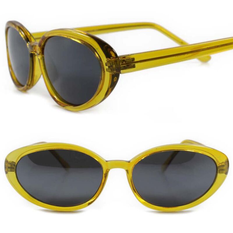 Genuine Vintage 70s Fashioned Deadstock Classic Womens Yellow Cat Eye Sunglasses