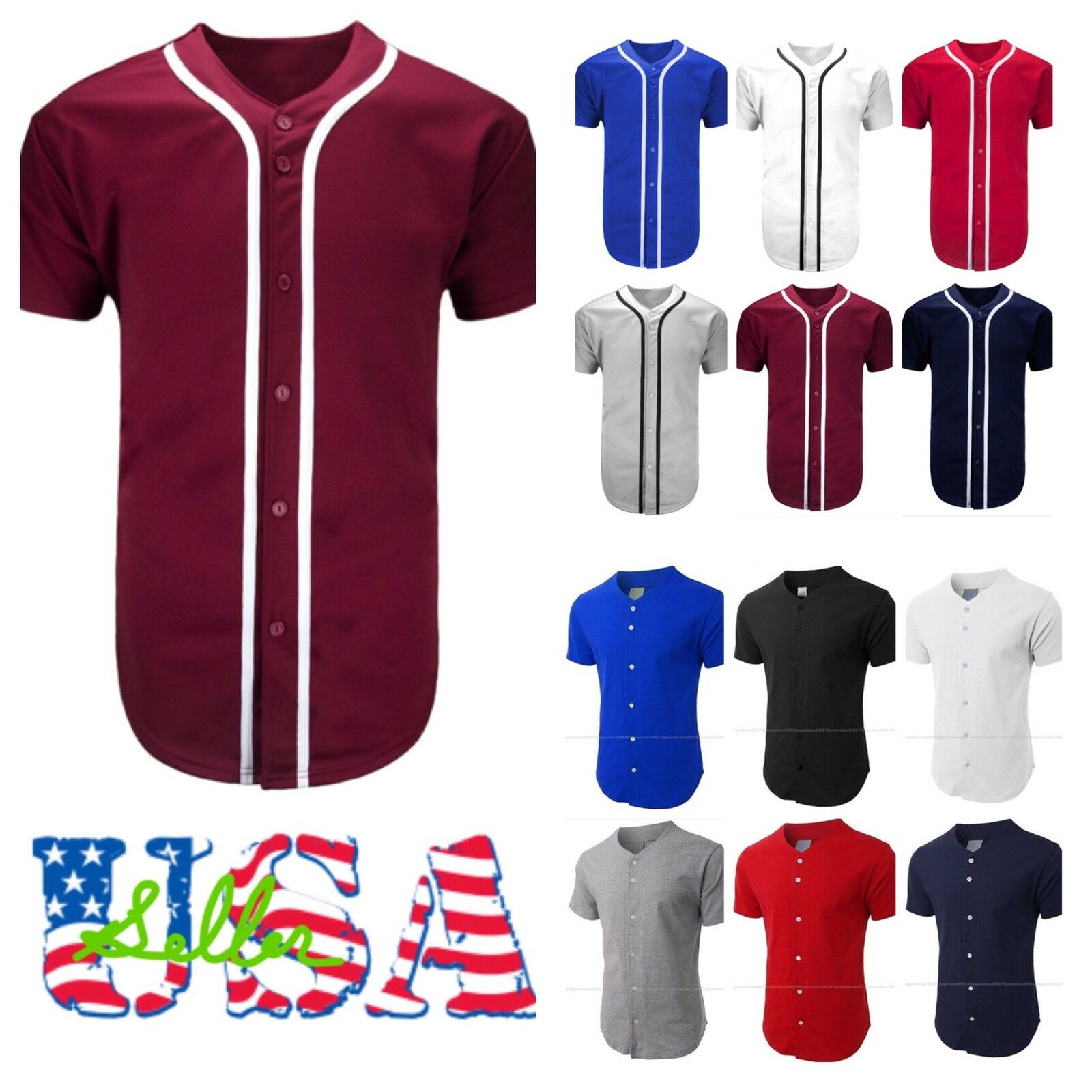 Men's Baseball Jersey Raglan T- Shirt Team Sports Button Fashion Hipster Casual