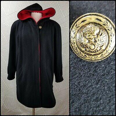 Vtg Forecaster Womens Long Wool Blend Hooded Coat Jacket Red trim size 14 USA Long Black Wool Coat