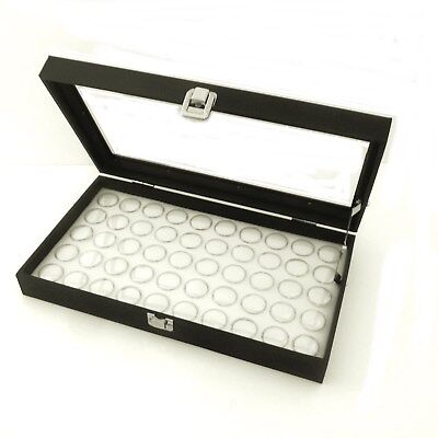 Glass Top 50 Gem White Jar Display Organizer Storage Case With Lid Support