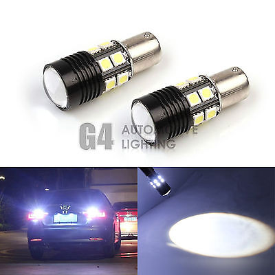 2x CREE 7W 1157 LED Bulbs 5050 SMD Back up Reverse Light Xenon White + Projector