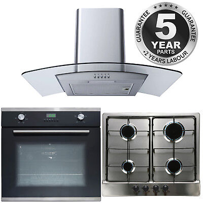 SIA SO102 60cm Electric Fan Oven & 4 Burner Gas Hob and Curved Glass Cooker Hood