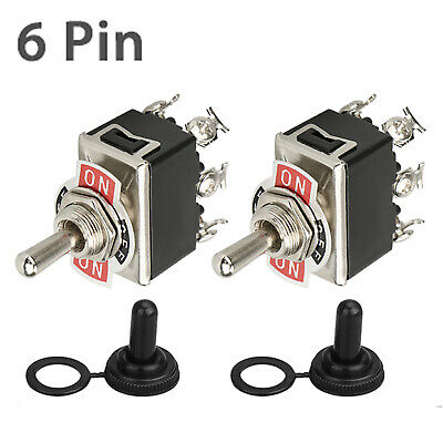 2-pack Waterproof 6pin Dpdt Momentary Toggle Switch Boot Cap Onoffon Amp