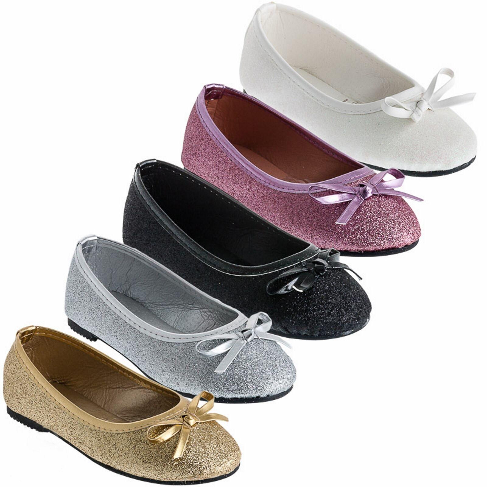 Festliche Mädchen Ballerinas Schuhe Glitzer Schleife Hochzeit Kommunion Freizeit