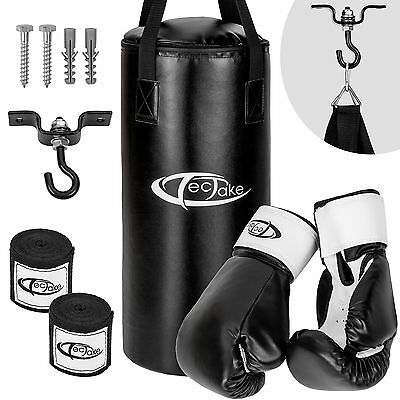 Box Set Boxsack gefüllt 10kg 56cm + Halterung Boxhandschuhe Sandsack Handschuhe