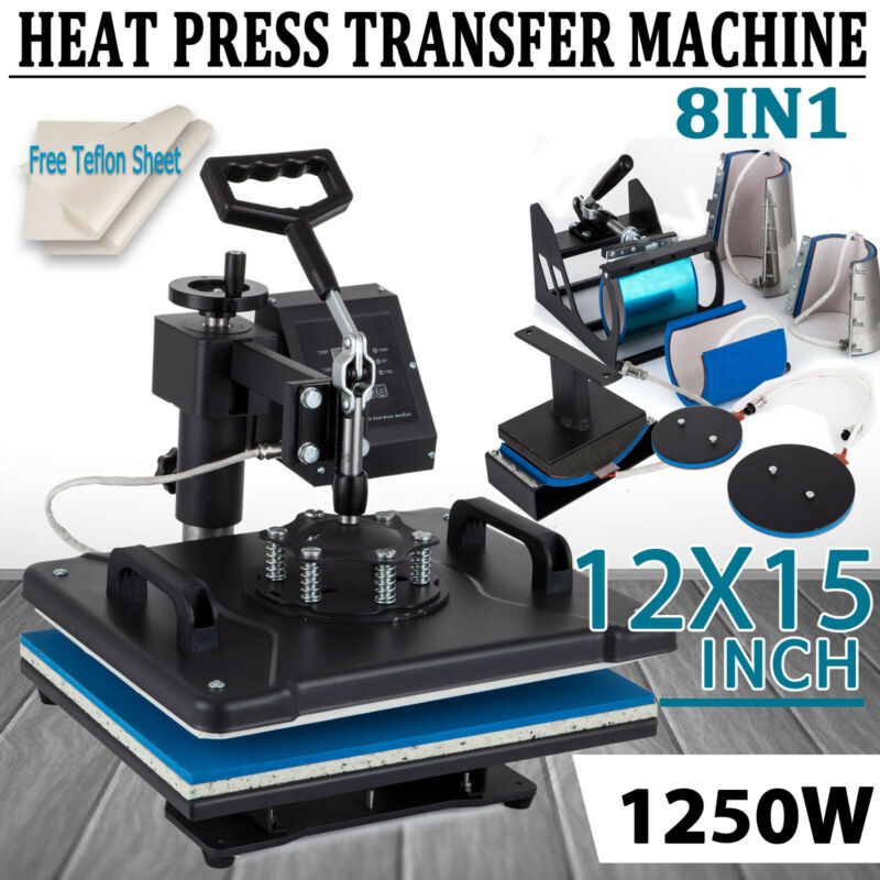 8in1 Heat Press Machine Digital Transfer Sublimation T-Shirt Mug Hat Swing Away