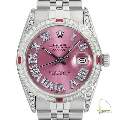 Rolex Datejust Mens 36mm Ice Pink Roman Diamond-Ruby Bezel and Lugs Watch