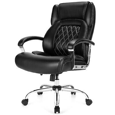 Costway 500lbs High Back Big Tall Office Chair Adjustable Leather Chair Black