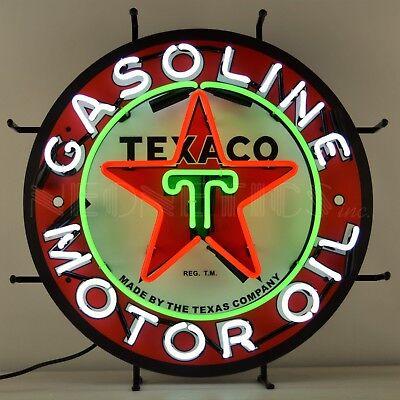 Texaco Gasoline & Motor Oil Neon Sign - Gas - The Texas Company - Star - Retro