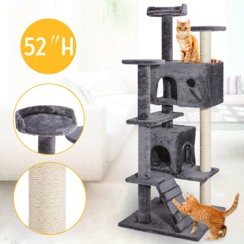 "52"" 80"" 67"" Cat Climb Tree Tower Condo Play House Pet Scratch Post Kitten 9 type"