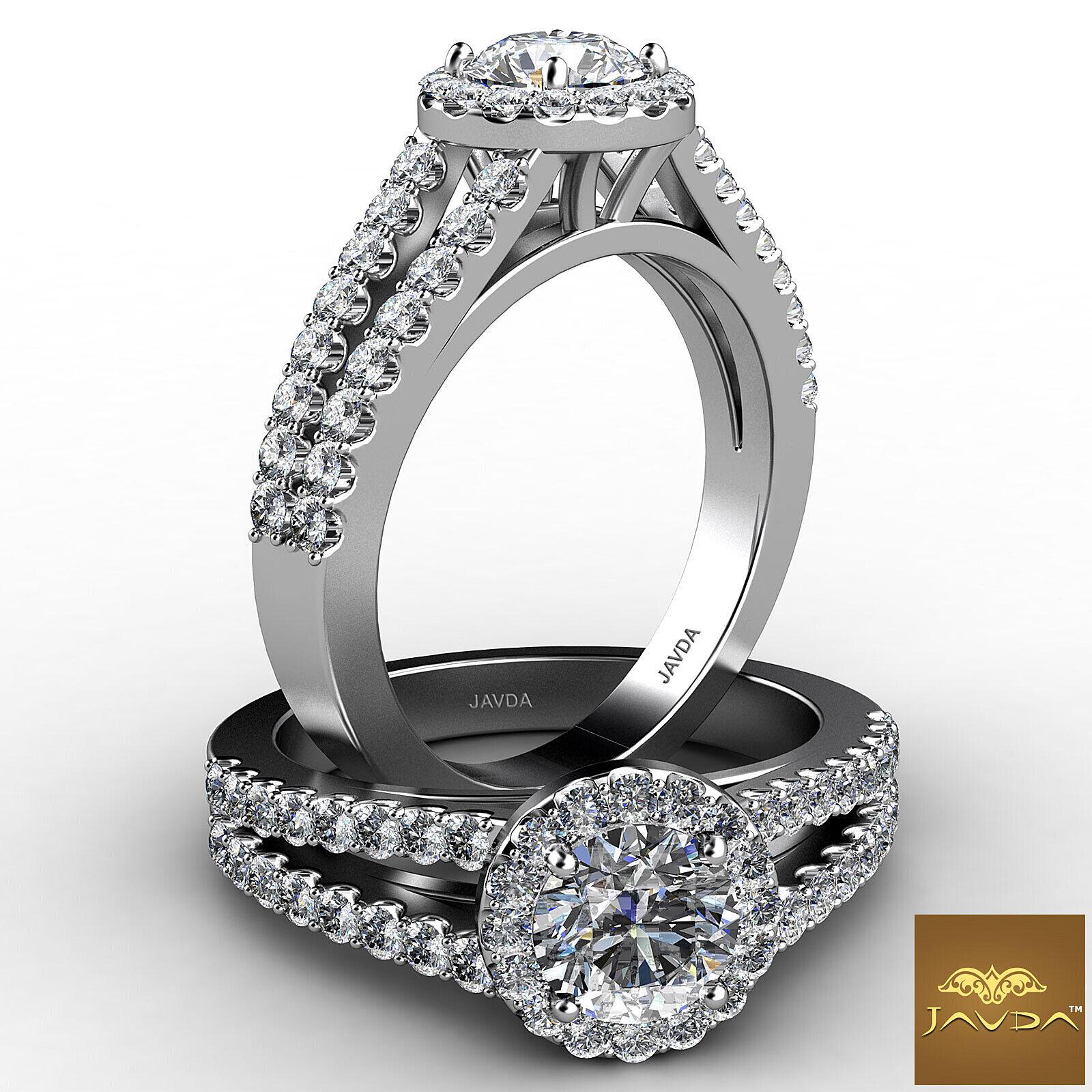 1.46ct Round Halo Prong Diamond Split Shank Engagement Ring GIA F VVS2 Platinum