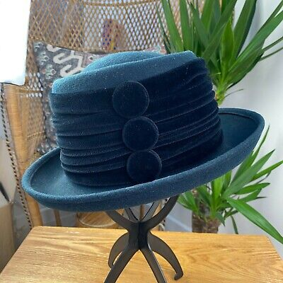 Vintage 80's 90's Navy Blue Wool Kangol Hat Velvet and Button Detail Made in UK