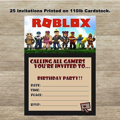 Roblox - Fill In Birthday Invitations - Quantity of 25 - No Envelopes