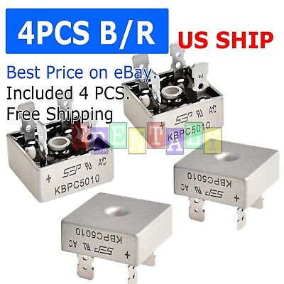4x 4 Pcs 50a 1000v Metal Case Single Phases Diode Bridge Rectifier Kbpc5010