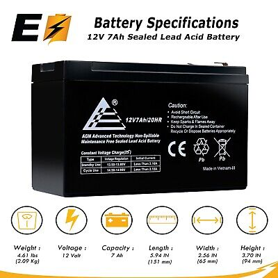 12V 7AH SLA/Sealed Lead Acid Rechargeable Battery for Verizon Fios +More! Rechargeable Lead Acid Battery