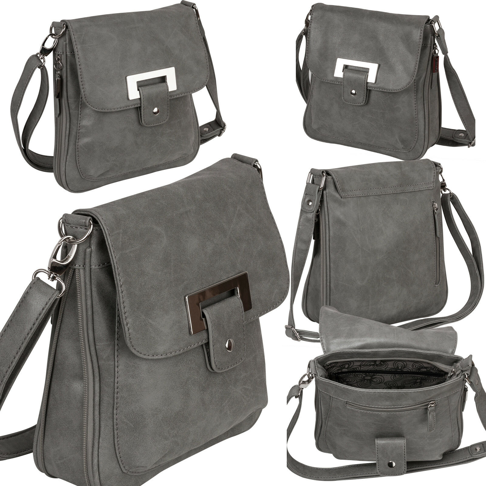 Bag Street Damentasche Umhängetasche Handtasche Schultertasche K2 T0101 Grau