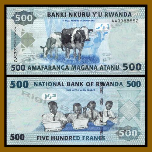 Rwanda 500 Francs, 2013 P-38 Schoolchildren Cows Unc