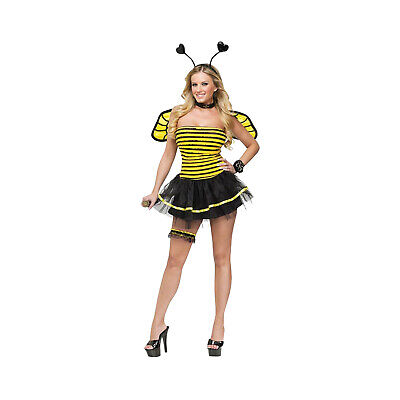 Bumble Bee Halloween Costumes Adults (Adult Women's Bumble Bee Sexy Striped Dress Halloween Costume Dress + Wings)