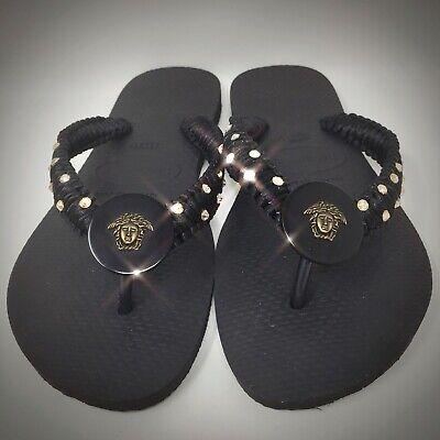 Havaianas Flip Flops w/Swarovski Crystals & Versace Medusa Button Sz 11/12 NWT