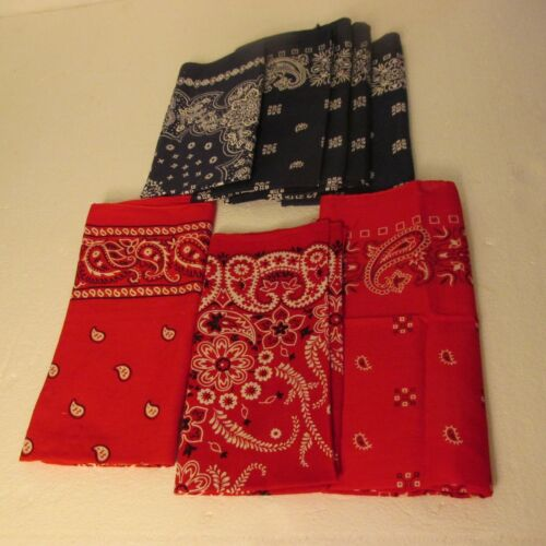 VTG Bandana ELEPHANT TRUNK UP BLUE RED COLOR FAST USA Cotton Hanky Lot of 8