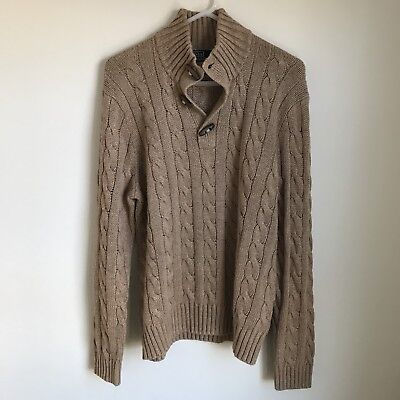 Vintage Ralph Lauren Polo Cableknit Sweater Camel Toggle Mens Large Silk Knit