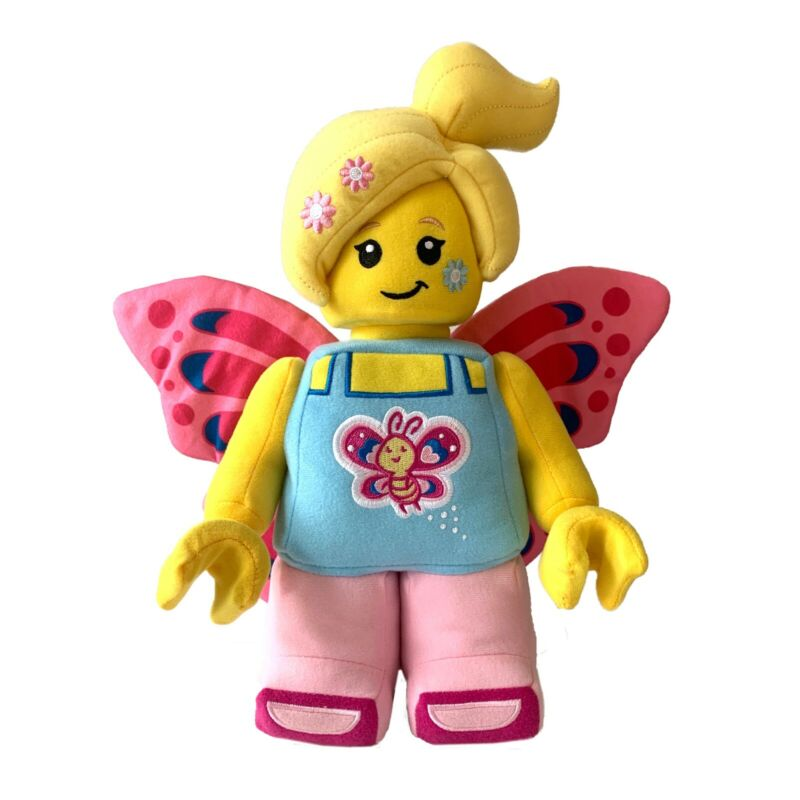 """LEGO ICONIC Butterfly Girl with Flowers 12"""" Plush Minifigure Character"""