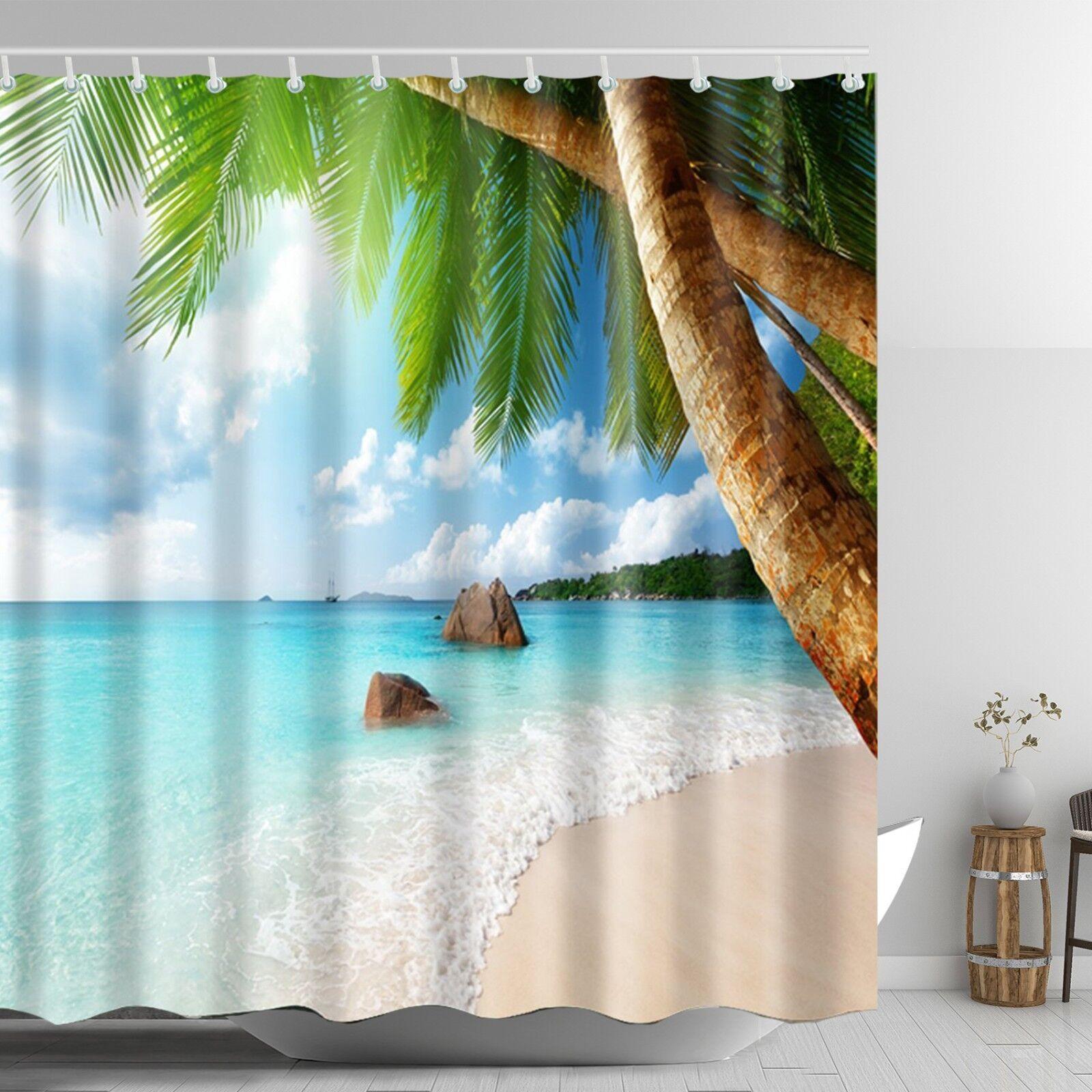 Beach Scene Shower Curtain Beach Themed Tropical Palm Bathro