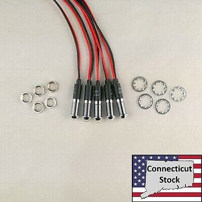 5x White 8mm Pre Wired Leds Metal Indicator Light Lamp 12v Usa