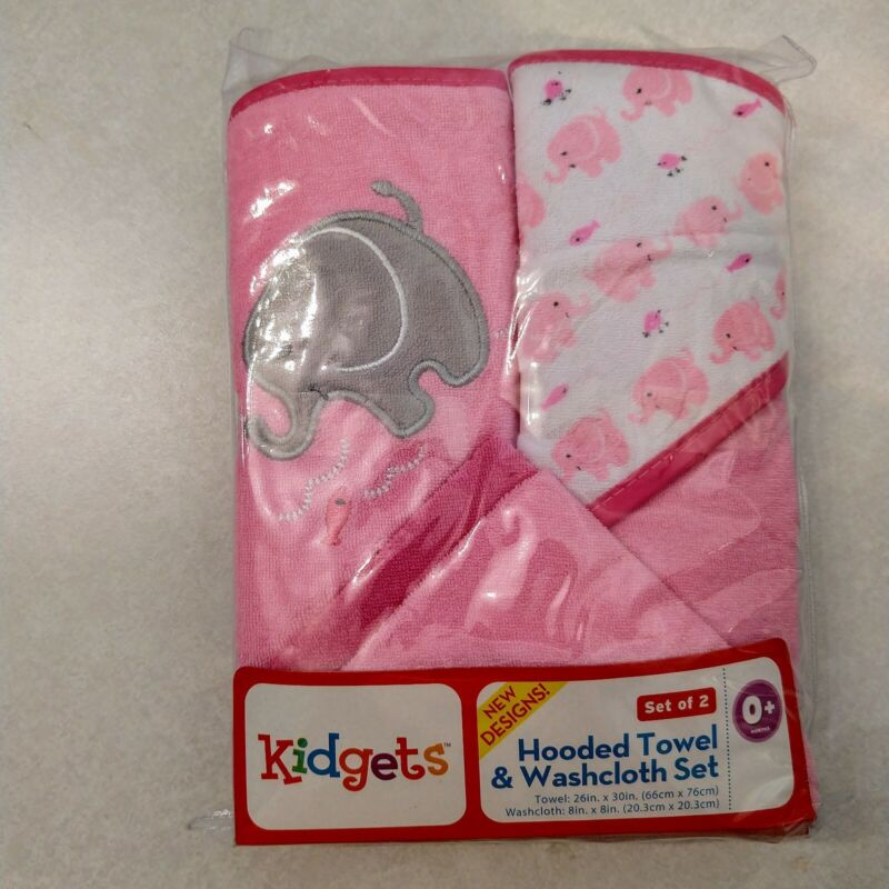 KIDGETS Infant Hooded Towel and Washcloth Set 2 of each