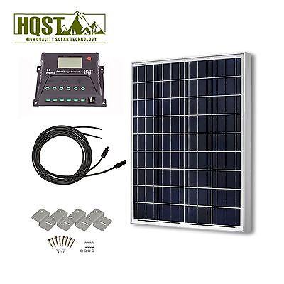 Solar Panel 100 Watt Poly Kit 12V RV Boat 100W Off Grid System W/O Tray Cable