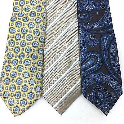 NEW Lot of 3 Men's Ties Tasso Elba Silk Neckwear Blue Brown Paisley Yellow Taupe ()