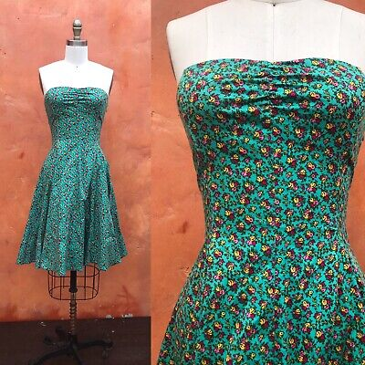 Betsey Johnson Corset Dress Fit Flare Floral Strapless Laced Turquoise swing -