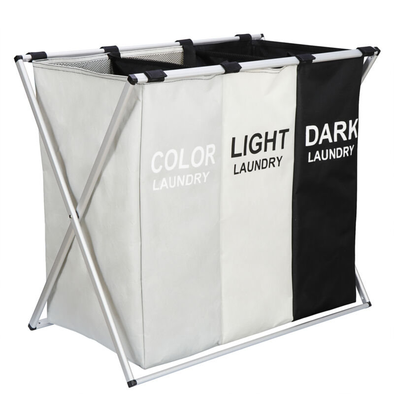 Foldable Clothes Laundry Basket 3 Section Hamper Bag Large Cart with Handle