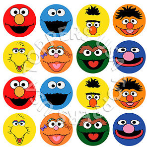 16x EDIBLE Sesame Street Elmo Birthday Cupcake Toppers Wafer Paper 4cm (uncut)