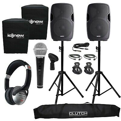 "Gemini AS-1500BLU 15"" PA/DJ Speakers Pair + Mic + Headphones + Stands + Covers"