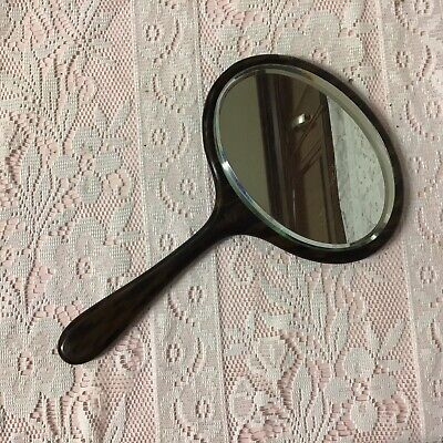 Art Deco Faux Tortoiseshell Celluloid Halex Vanity Mirror & A Pure Bristle Brush