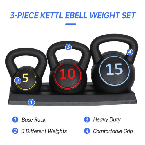 3-Piece Kettlebell Set with Storage Rack Exercise Fitness Weights for Home Gym Fitness, Running & Yoga