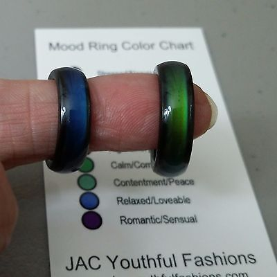 Free Shipping    Magnetic Hematite Mood Ring Size 6 7 8 9 With Mood Chart