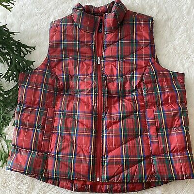 Land's End Down Puffer Vest Hyper Dry Plaid Print Womens Plus Size 1X Plaid Print Vest