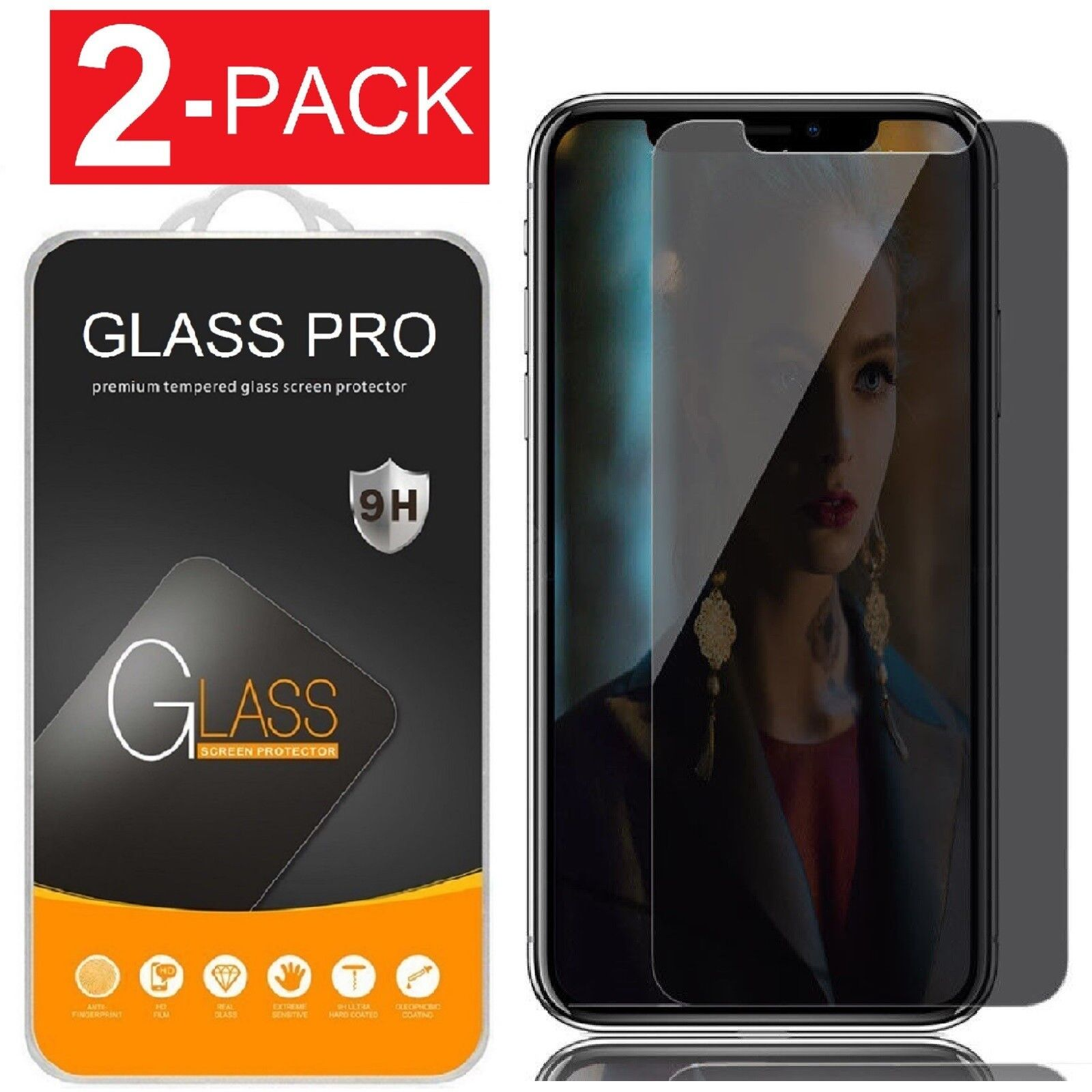 iPhone X XS XR XS Max Privacy Anti-Spy Tempered Glass Scree