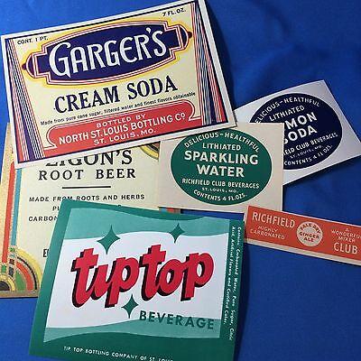 Richfield Club Tip Top SODA Bottle LABELS Elsberry St Louis MO Original Vintage
