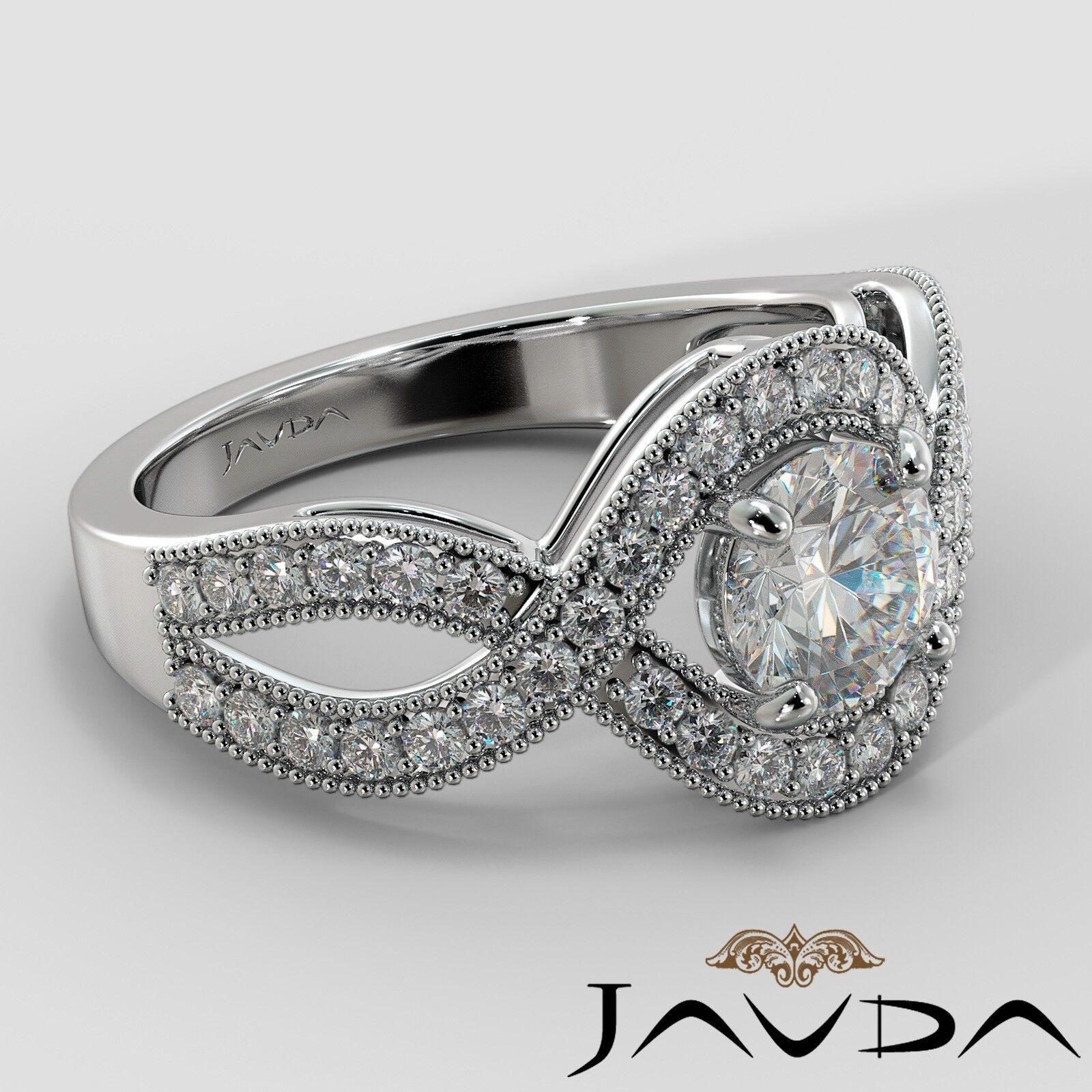 1.25ctw Milgrain Halo Side Stone Round Diamond Engagement Ring GIA G-VS1 W Gold 2