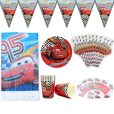 62pcs/lot For 12 Kids Cars Theme Birthday Party Decoration Tableware Set
