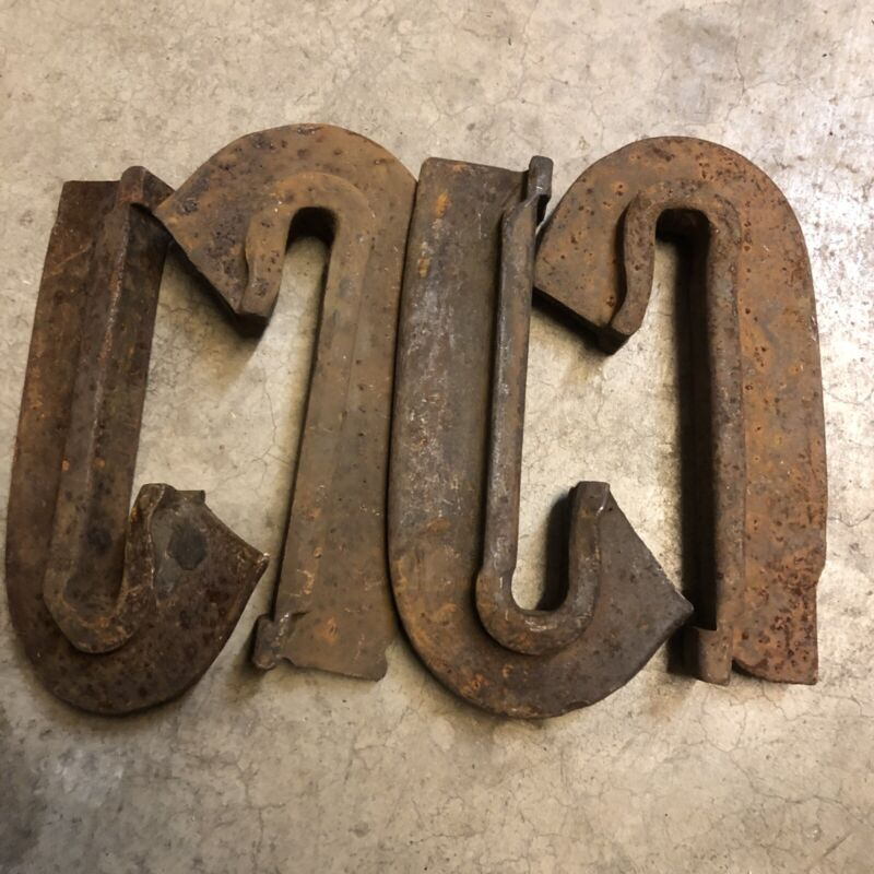 Vintage Railroad Anchors 4, Train Track, J Hooks, Blacksmith iron