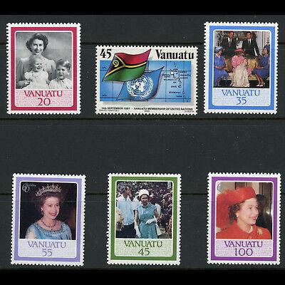 VANUATU 1985-86 United Nations & 60th Birthday. SG 429-433 & 420. MNH. (AX171)