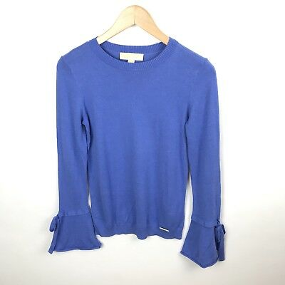 MICHAEL KORS BLUE LONG BELL SLEEVES TOP Sweater SIZE XS . -A-