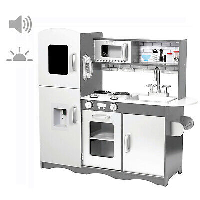 Deluxe Kids Toy Kitchen with Sounds & Lights Large Wooden Cooker Only Grey